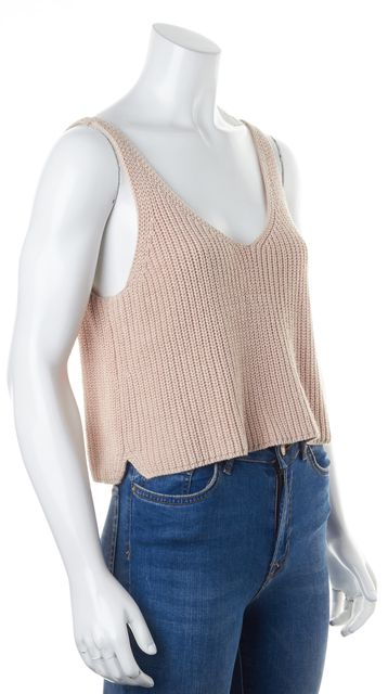INTERMIX Blush Pink Sleeveless Cropped Waffled Knit Top