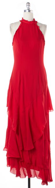 INTERMIX Bright Red Silk Stacie Ruffle Tiered Ball Gown Dress