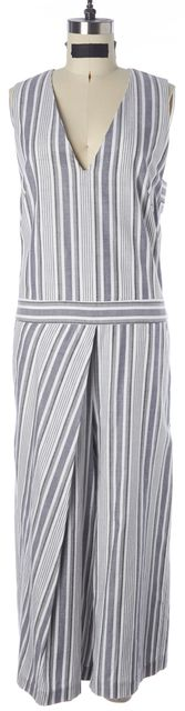 INTERMIX Gray White Striped Cotton Sleeveless Back Cutout V-Neck Jumpsuit
