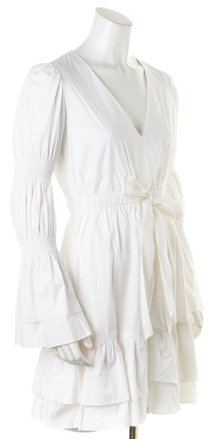 INTERMIX White Long Sleeve V-Neck Above Knee Empire Waist Dress