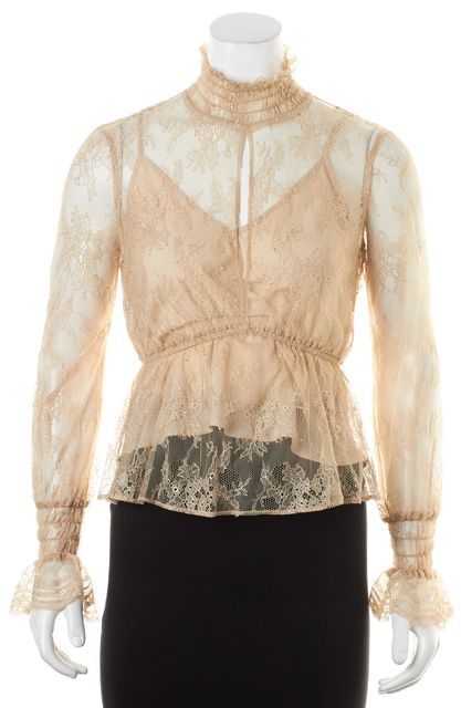 INTERMIX Beige Sheer Floral Lace Long Sleeve Mock Neck Keyhole Blouse