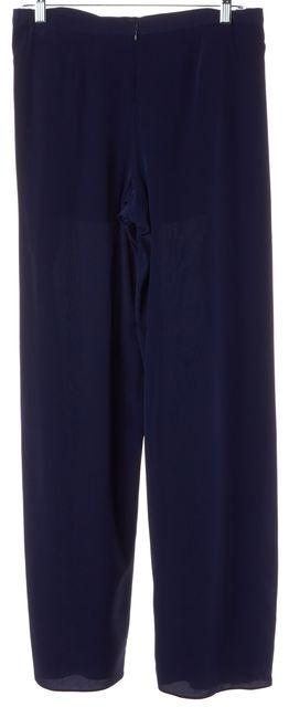 INTERMIX Navy Blue Silk Nautical High Rise Side Slits Wide Leg Dress Pants