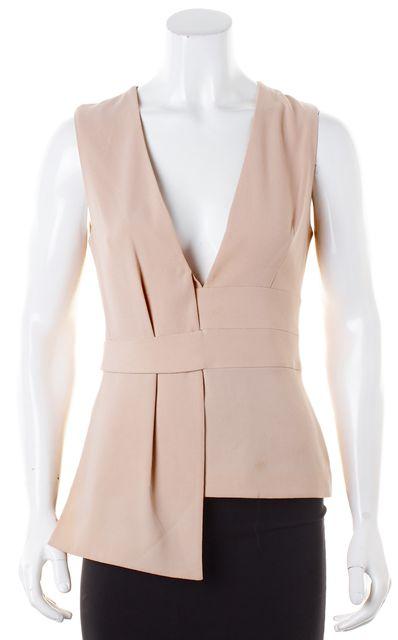 INTERMIX Blush Pink Crepe Asymmetric Hem Sleeveless V-Neck Blouse