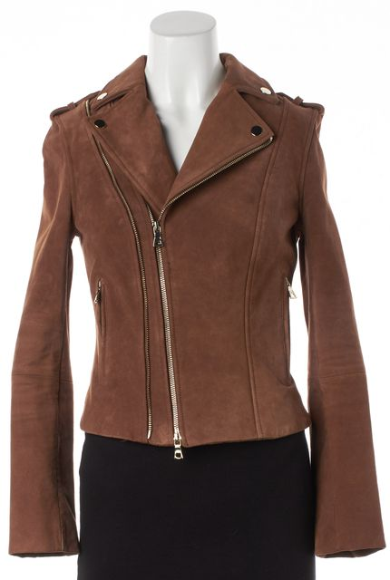 INTERMIX Brown Suede Leather Moto Jacket