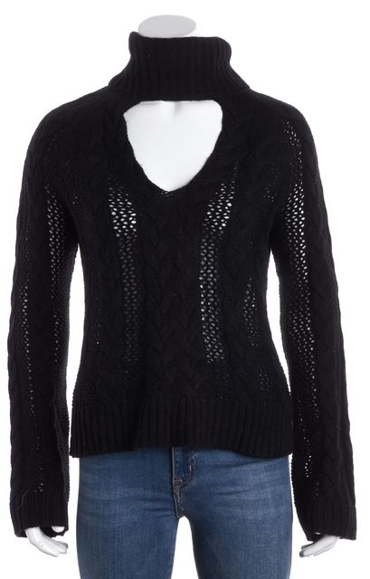 INTERMIX Black Bell Sleeved Tear Cut Out Medium KNit Turtleneck Sweater