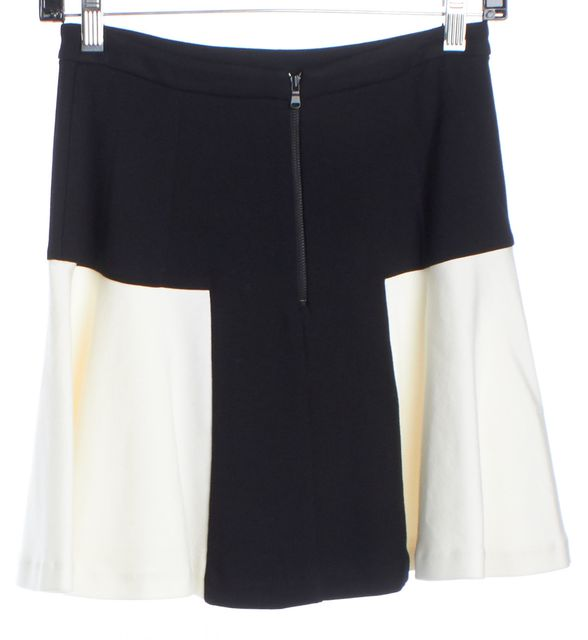 INTERMIX Black and Ivory Colorblock Skater Skirt