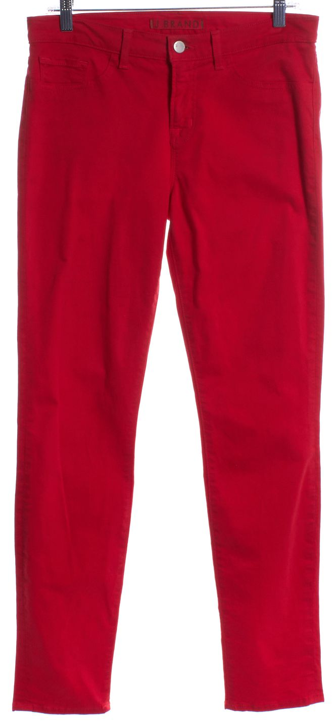 J Brand #811K120 Bright Red Skinny Leg Jeans | Material World