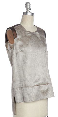 J BRAND Beige Gray Floral Lace Printed Sleeveless Blouse