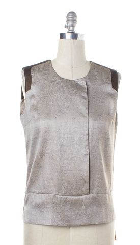 J BRAND Silver Floral Lace Print Sleeveless Blouse