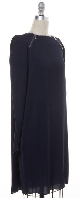 J BRAND Navy Blue Long Sleeve Zip Shoulder Knee Length Shift Dress
