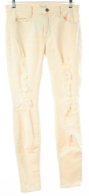 J BRAND #620C028 Ivory Casual Distressed Supper Skinny Divo Slim Fit Jeans