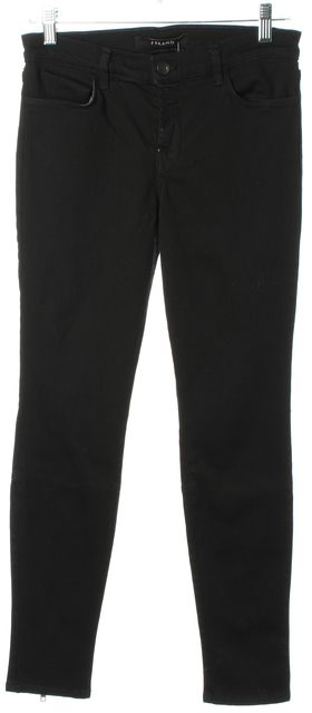 J BRAND #8910 Black Mid-Rise Stretch Cotton Ankle Zip Skinny Jeans