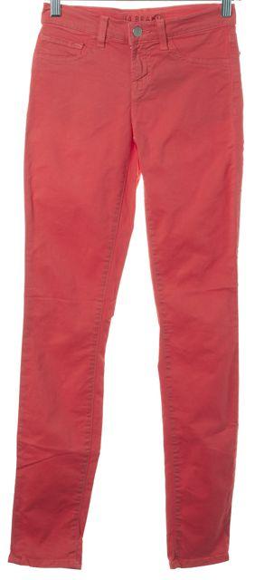 J BRAND #811 Tangerine Orange Stretch Cotton Mid-Rise Skinny Jeans