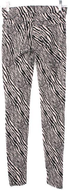 J BRAND #485 Black White Zebra Print Mid-Rise Legging Jeans