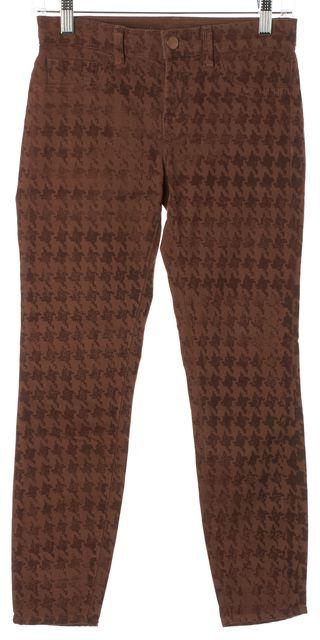 J BRAND #835 Dark Red BH Syrah Printed Skinny Leg Capri Jeans