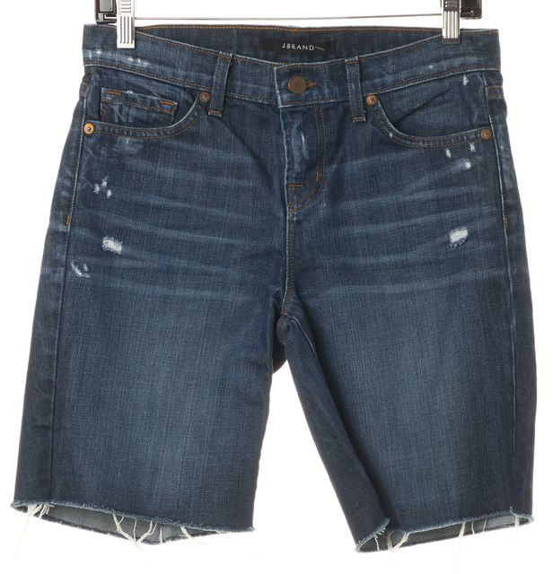 J BRAND Blue Synthesis Distressed Denim Bermuda Walking Shorts