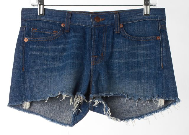 J BRAND #100146 Libra Blue Medium Wash Cut-Off Denim Shorts