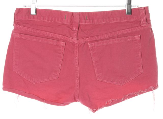 J BRAND #1046 Bright Fuchsia Pink Cut-Off Distressed Hem Denim Shorts