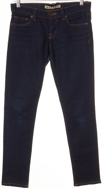 J BRAND #910 Ink Blue Stretch Cotton Cropped Skinny Jeans