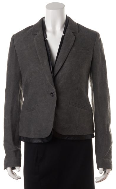J BRAND Gray Woven Linen Cotton Layered Black Leather Trim 1 Button Blazer