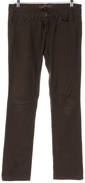 J BRAND Brown Cotton Blend Mid-Rise Straight Leg Jeans
