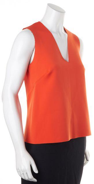 J BRAND Orange V-Neck Sleeveless Neoprene Top Fits Like