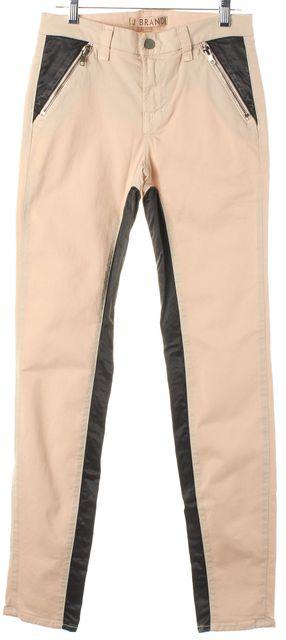 J BRAND Beige Gray Color-Block Empress Nikko Zipped Skinny Jeans
