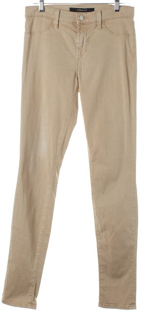 J BRAND #485V Stone Beige Mid-Rise Super Skinny Jeans