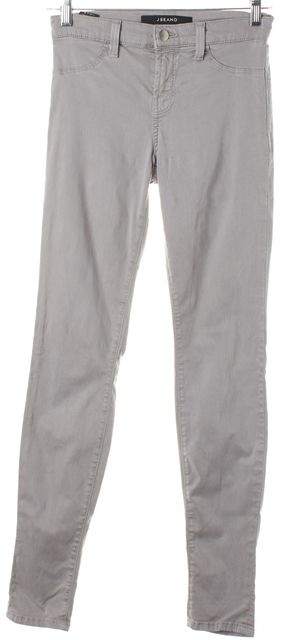 J BRAND Light Gray Limestone Mid-Rise Super Skinny Jeans