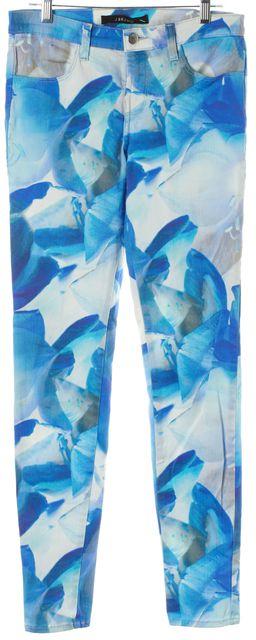 J BRAND #620 Blue Orchard Floral Printed Super Skinny Jeans