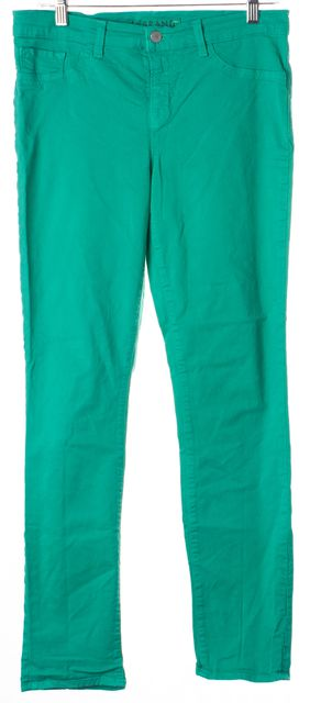 J BRAND Emerald Green Mid-Rise Slim Fit Jeans