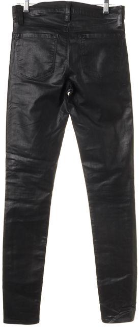 J BRAND #815 Coated Black Stretch Cotton Super Skinny Jeans