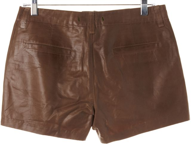 J BRAND #1296 Brown Waxed Coated Cotton Lola Casual Shorts