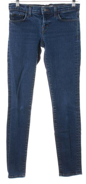 J BRAND #3910 Aruba Blue Stretch Cotton Denim Low Rise Skinny Jeans