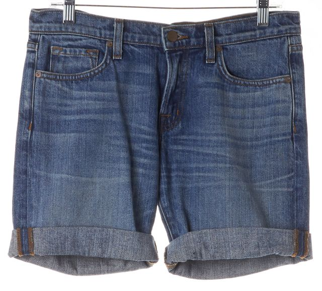J BRAND #125 Perfect Blue Whiskered Denim Cuffed Shorts