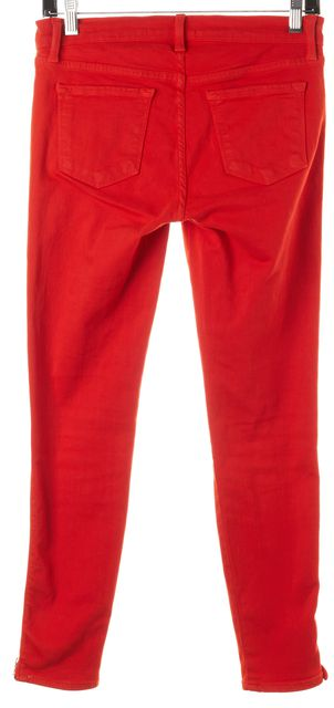 J BRAND #1446 Fiery Red Stretch Cotton Ankle Zip Skinny Jeans