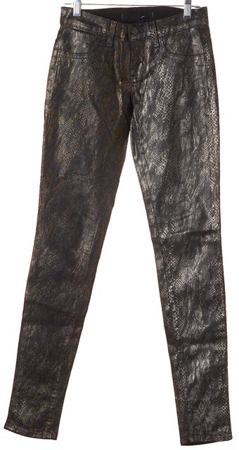 J BRAND #901 Black Gold Coated Snake Print Skinny Legging Jeans