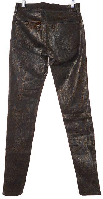 J BRAND #901 Black Gold Coated Snake Print Skinny Legging Jeans