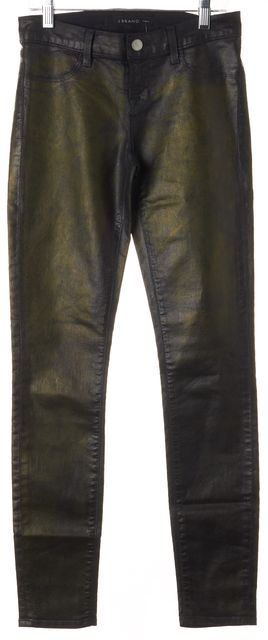 J BRAND #815 Coated Black Gold Stretch Cotton Skinny Jeans