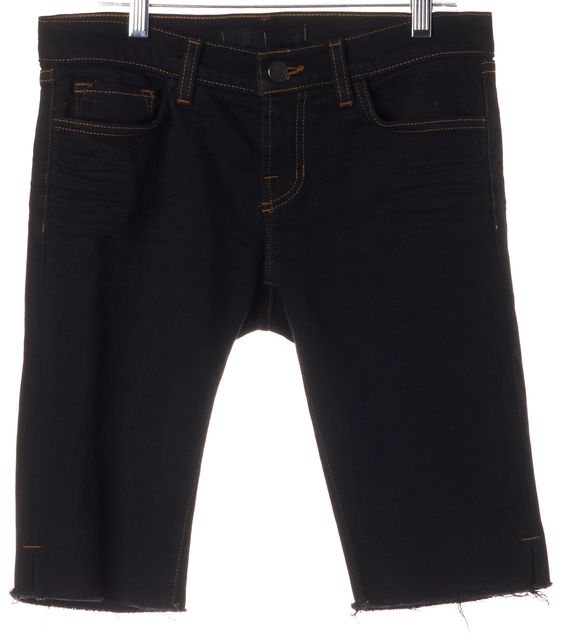 J BRAND #925 Black Cotton Denim Cut-Off Bermuda Shorts