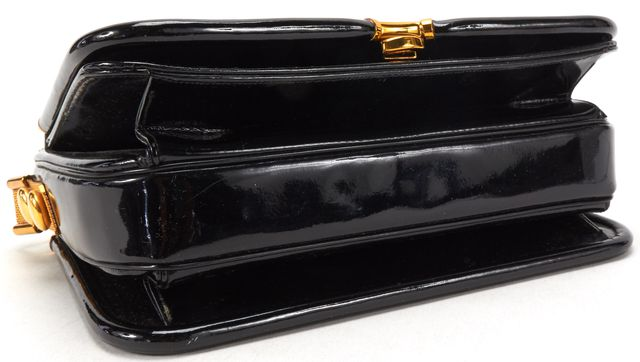JUDITH LEIBER Black Patent Leather Gold Chain Shoulder Bag