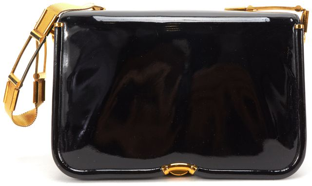 JUDITH LEIBER Authentic Black Patent Leather Gold Chain Shoulder Bag