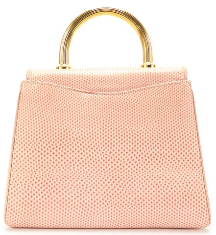 JUDITH LEIBER Pink Beige Lizard Handle Small Structured Top Handle Bag