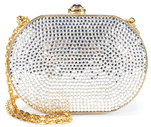 JUDITH LEIBER Crystal Gold Chain Mini Box Clutch Crossbody Bag