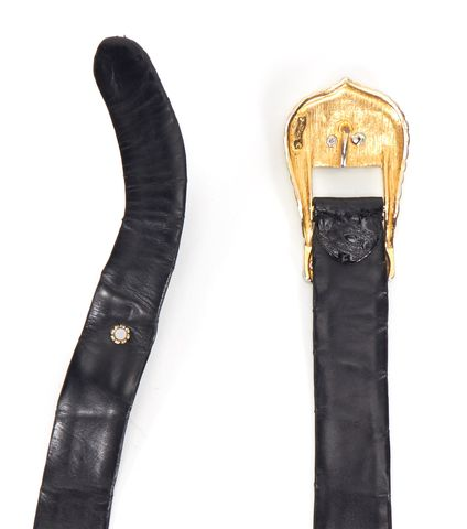 JUDITH LEIBER Black Croc Embossed Leather Belt One Size