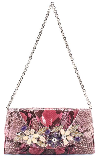 JUDITH LEIBER Pink Snakeskin Jade Crystal Embellished Clutch Shoulder Bag