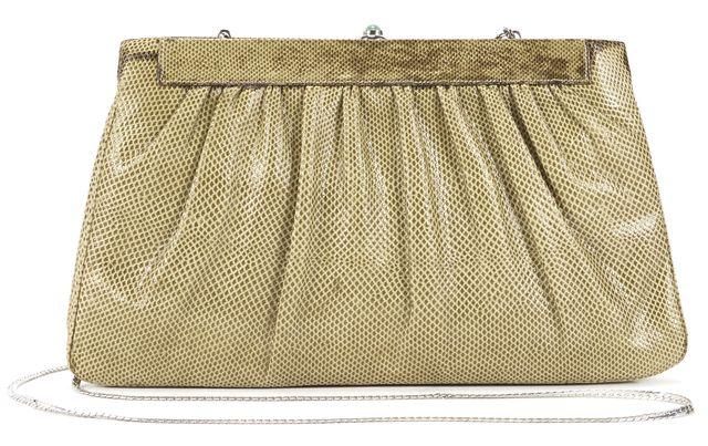 JUDITH LEIBER Brown Lizard Skin Silver Chain Shoulder Clutch Bag