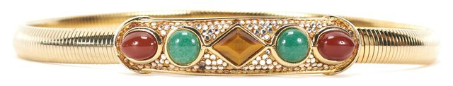 JUDITH LEIBER Gold Tone Elastic Jade Embellished Skinny Belt