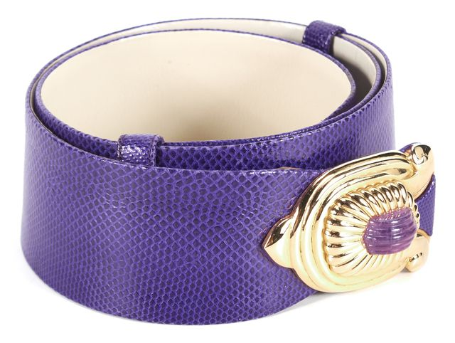 JUDITH LEIBER Purple Snake Embossed Leather Jade Embellished Belt