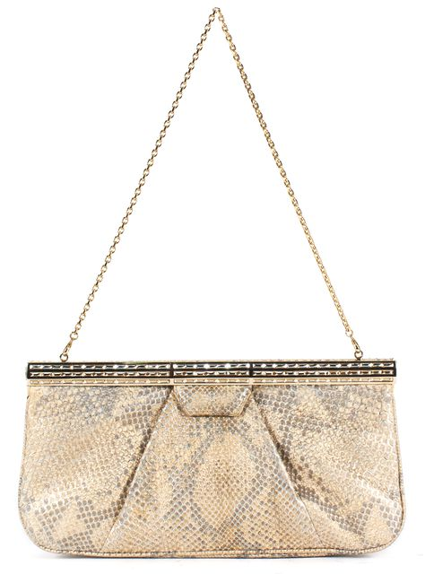 JUDITH LEIBER Gold Snakeskin Leather Crystal Embellished Convertible Clutch